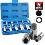 Ridgerock Neiko-10056A 10-pc. XZN Triple Square Spline Bit Socket Set from Hanover Tool