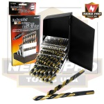 Ridgerock Neiko-10159B 29-pc. Industrial USA Index Drill Bit Set (Black/Gold Color Finish) from Hanover Tool
